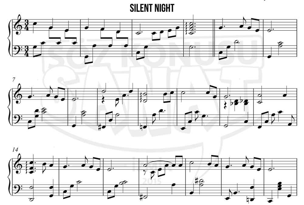 Silent Night piyano notası