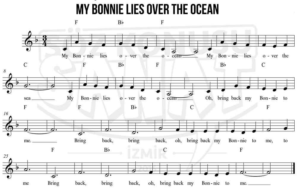 my bonnie lies over the ocean piyano notası